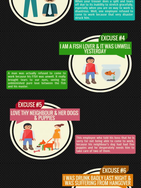 10 Funniest Excuses to Bunk Work Infographic
