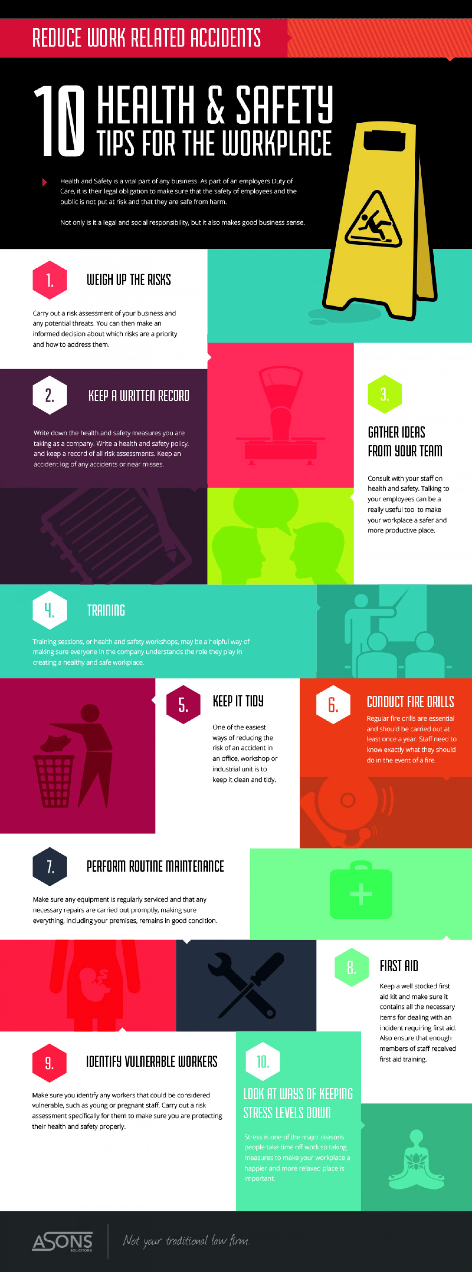 10 Health & Safety Tips For The Work Place Infographic