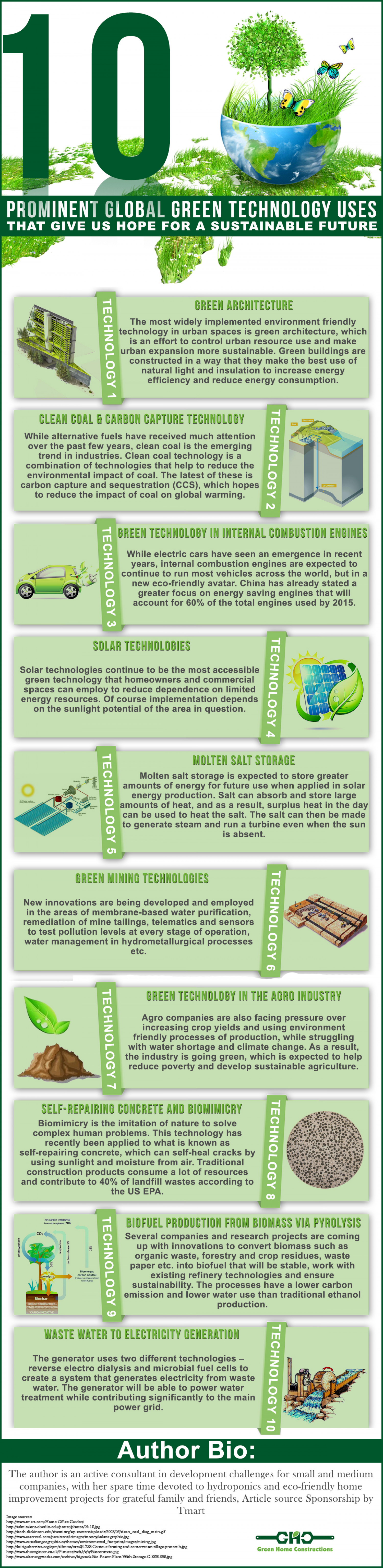 10 Prominent Global Green Technology Uses That Give Us Hope For A Sustainable Future Infographic