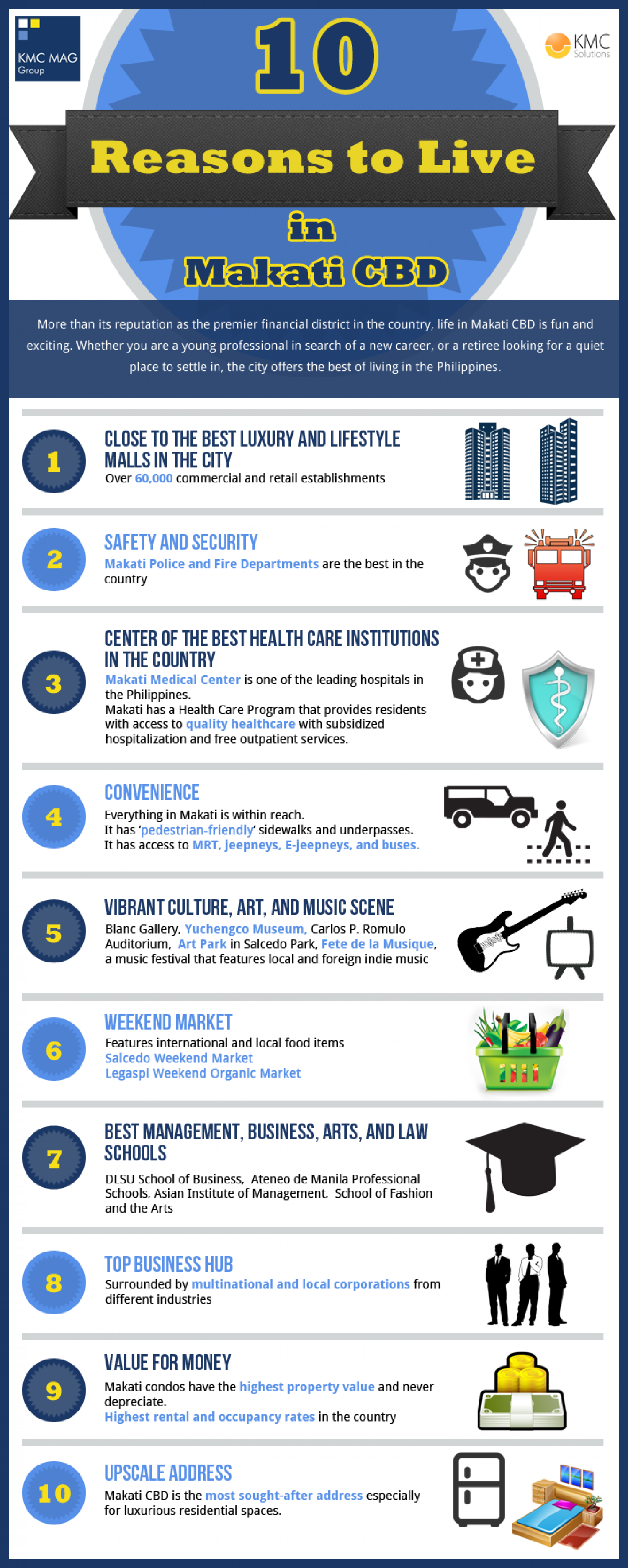 10 Reasons to Live in Makati CBD Infographic