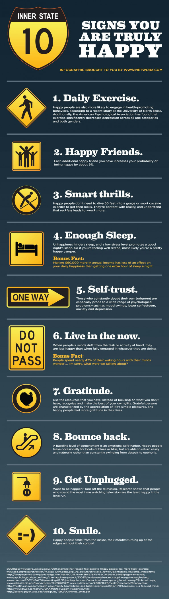 10 Signs You are Truly Happy Infographic