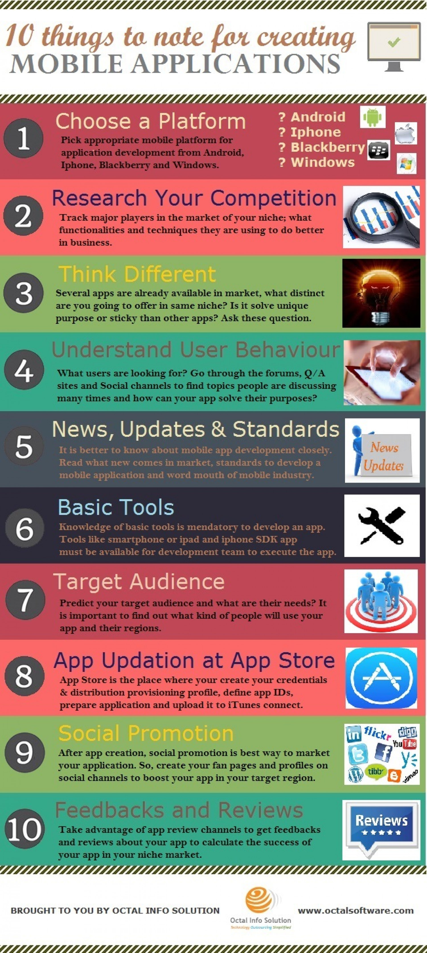 10 Things To Note For Creating Mobile Applications Infographic