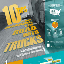 10 Tips for Sharing the Road with Trucks Infographic