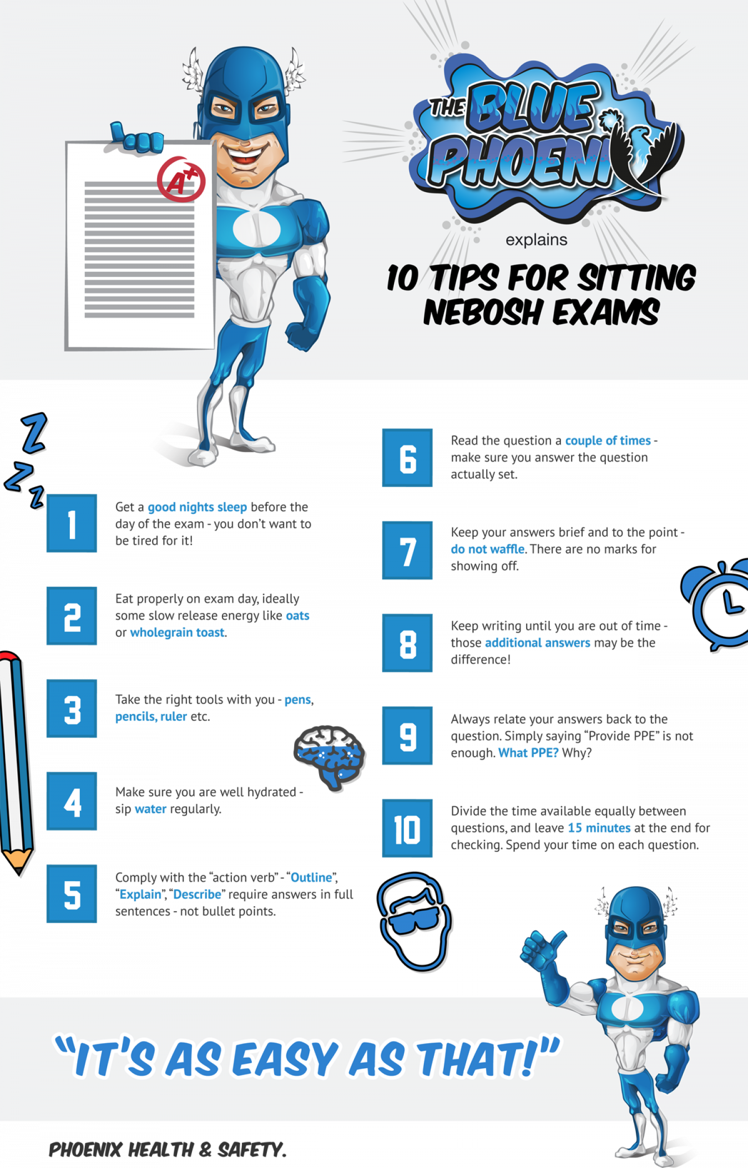 10 Tips for Sitting NEBOSH Exams Infographic