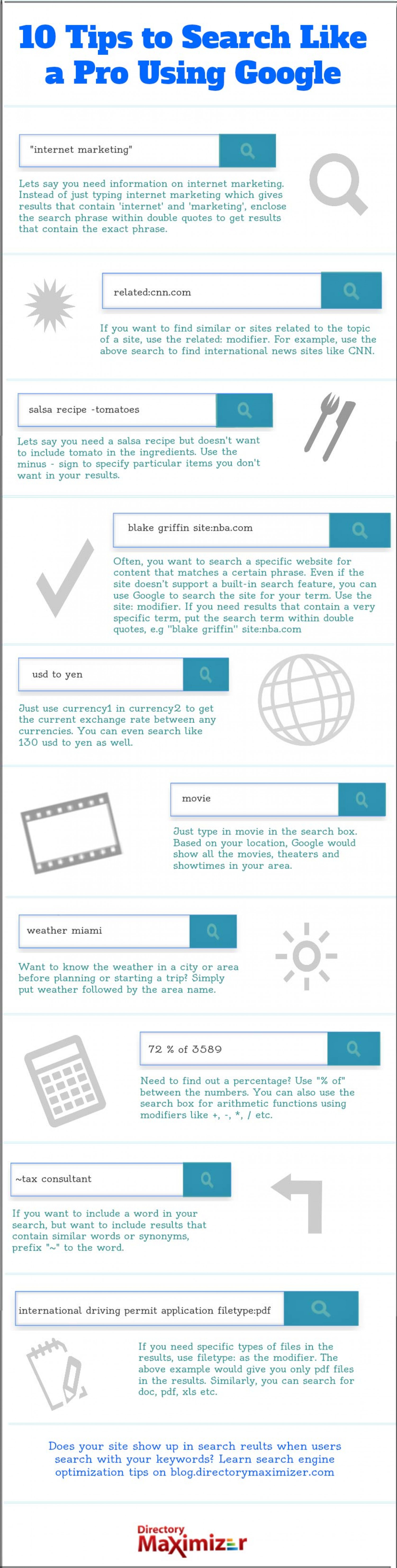 10 Tips to Search Like a Pro Using Google  Infographic