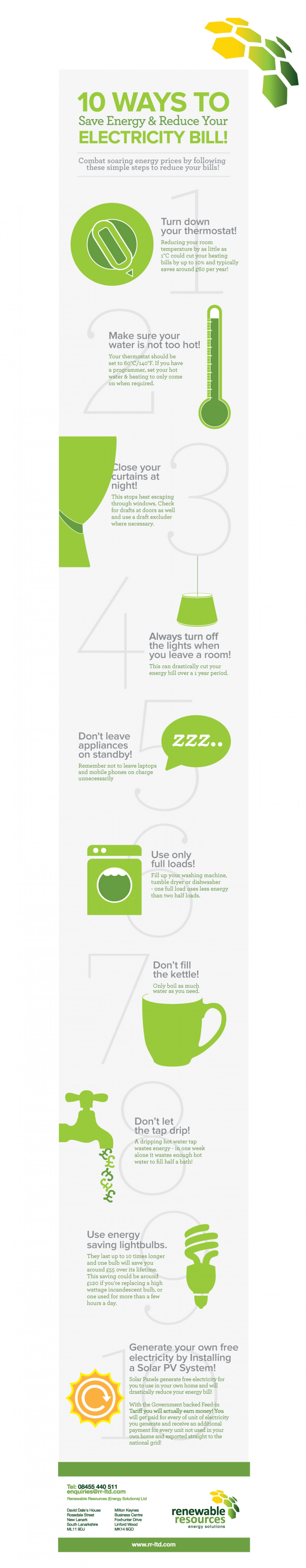 10 Ways To Save Energy & Reduce Your Electricity Bill Infographic