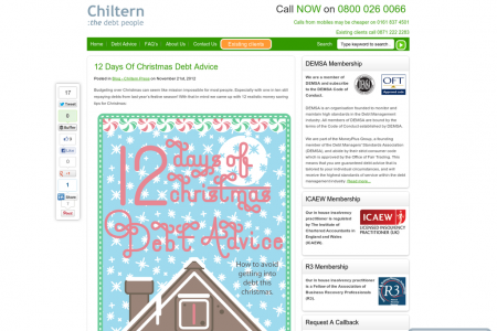12 Days of Christmas Debt Advice Infographic