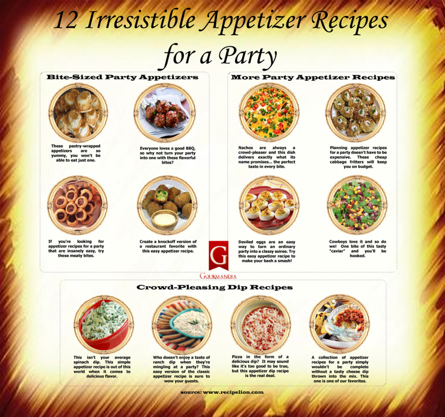 12 Irresistible Appetizer Recipes Party Infographic