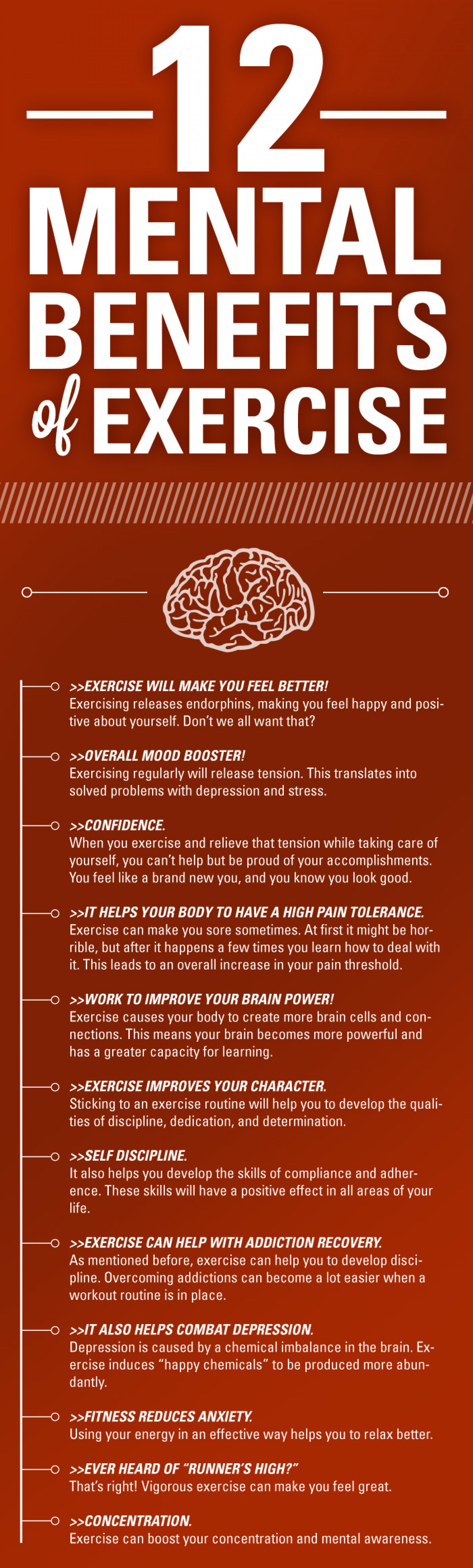 12 Mental Benefits of Exercise Infographic