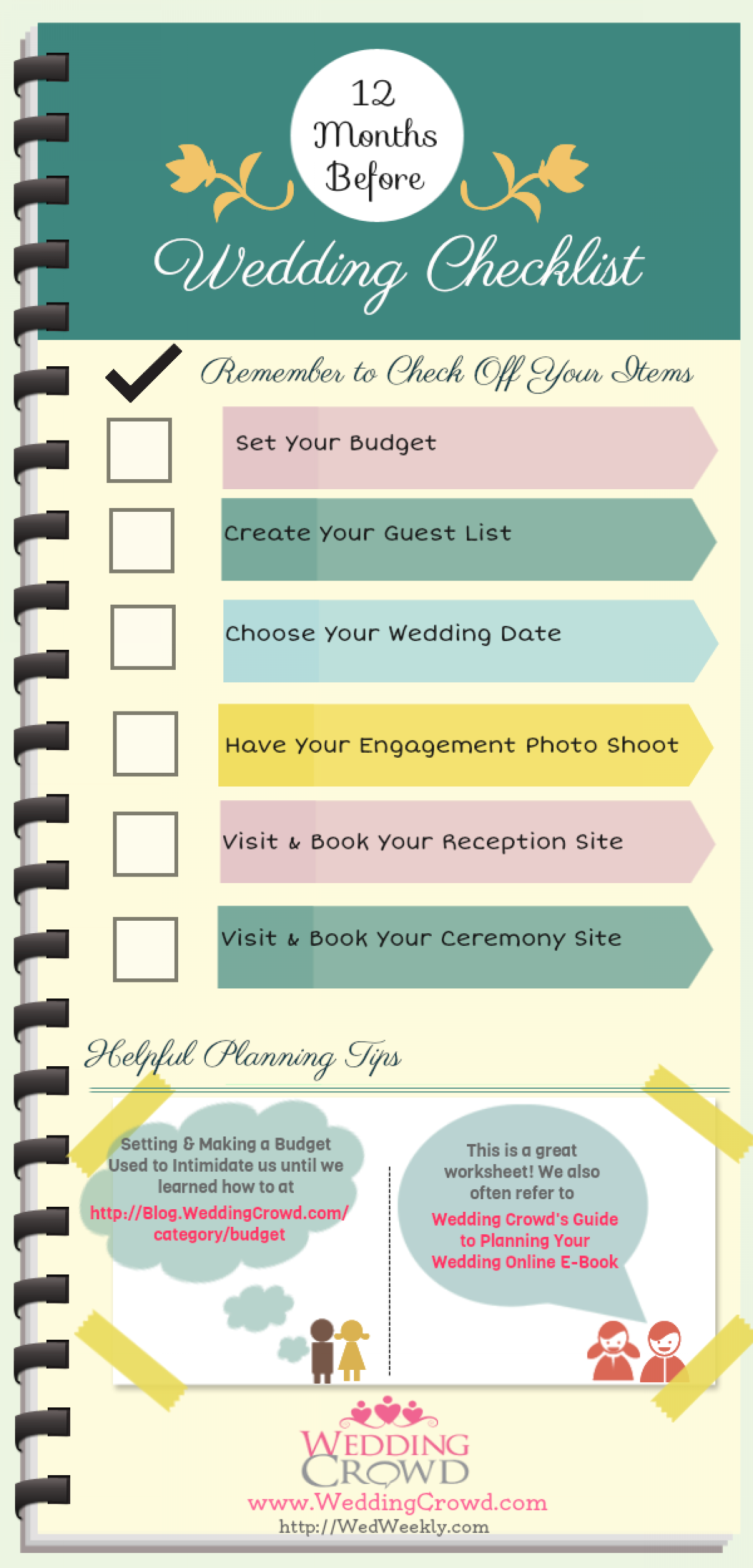 12 Months Before Wedding Planning Checklist Infographic