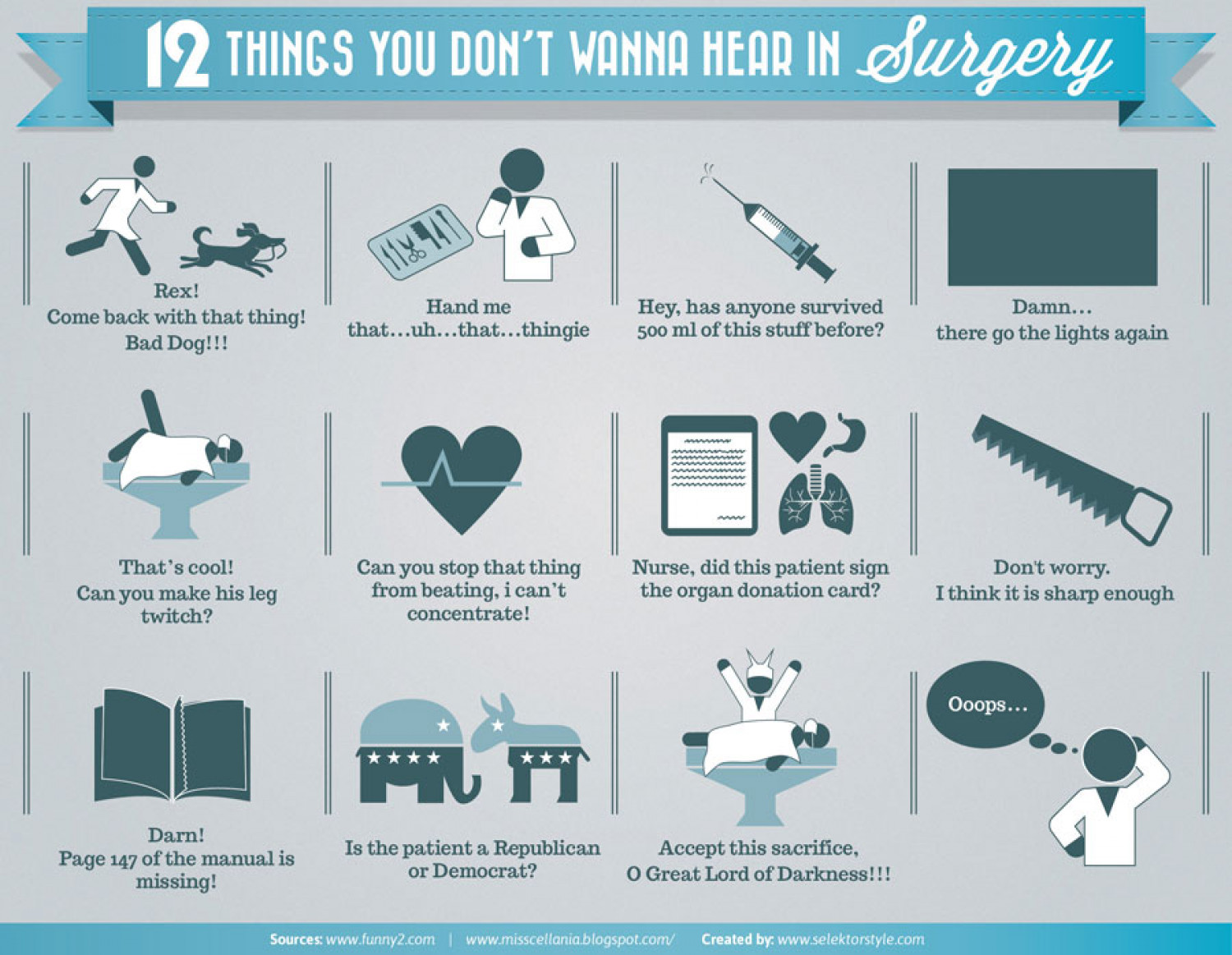 12 things you don't wanna hear during surgery Infographic