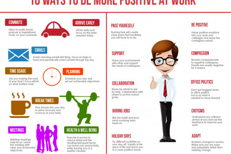 18 Ways to be More Positive at Work Infographic