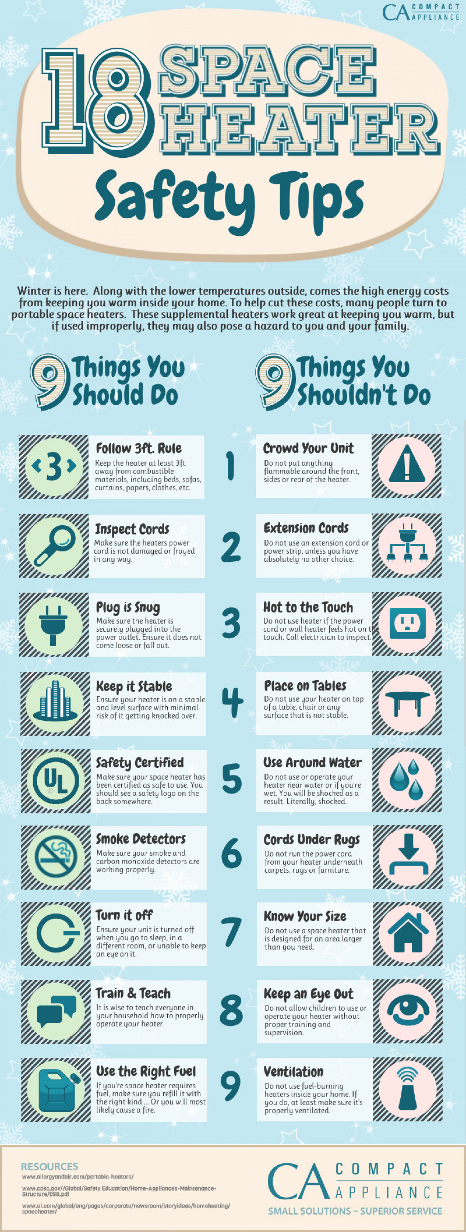 18 Space Heater Safety Tips  Infographic