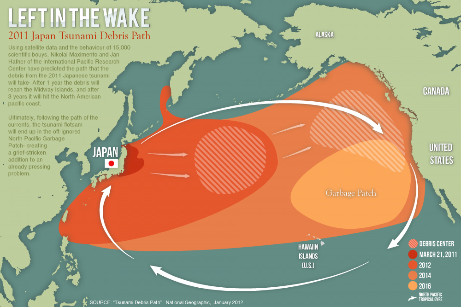 2011 Japan Tsunami Debris Path Infographic