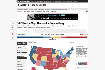 2012 Election Map: The race for the presidency Infographic