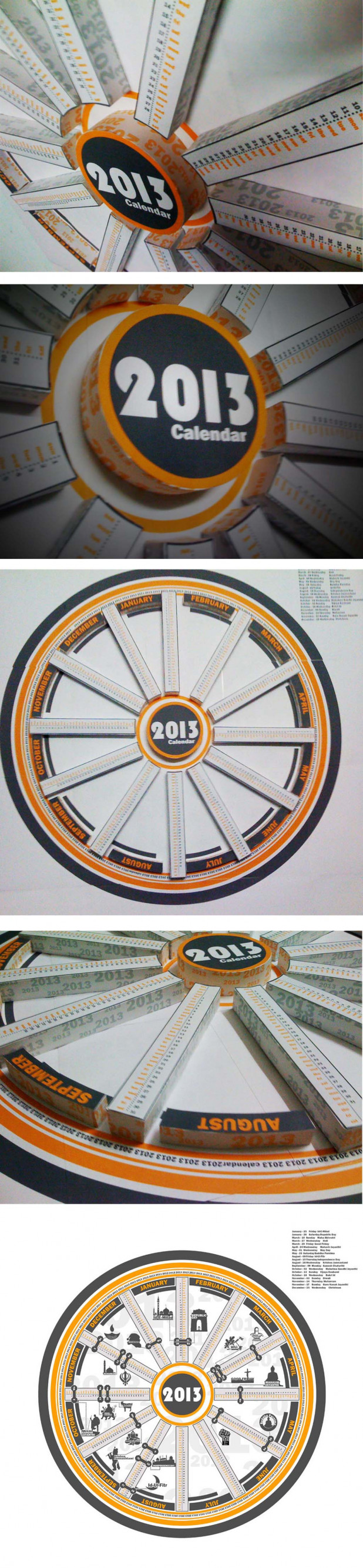 2013 calendar, infographic paper crafted