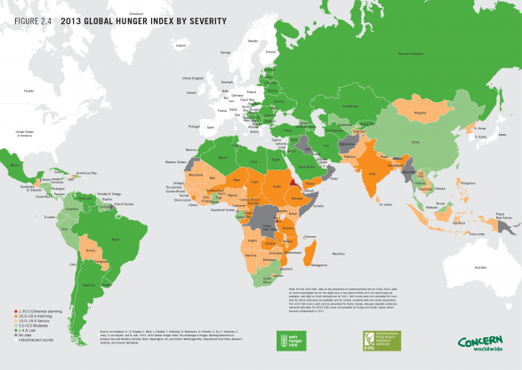 2013 Global Hunger Index by Severity