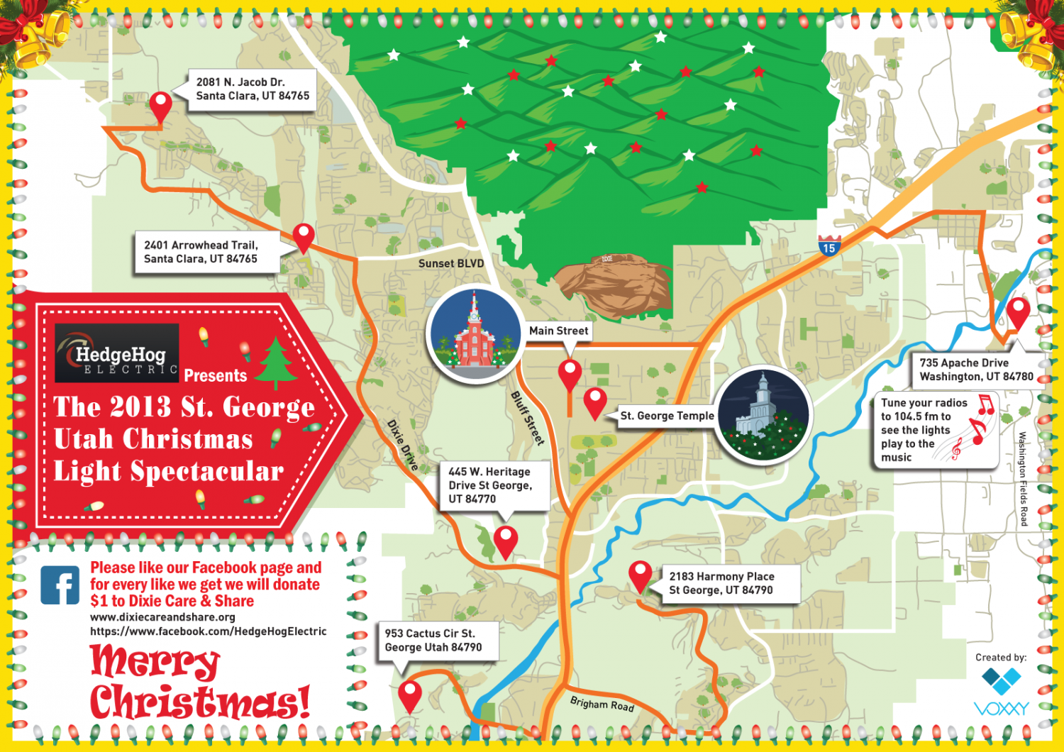 2013 St George, Utah Christmas Light Map Infographic