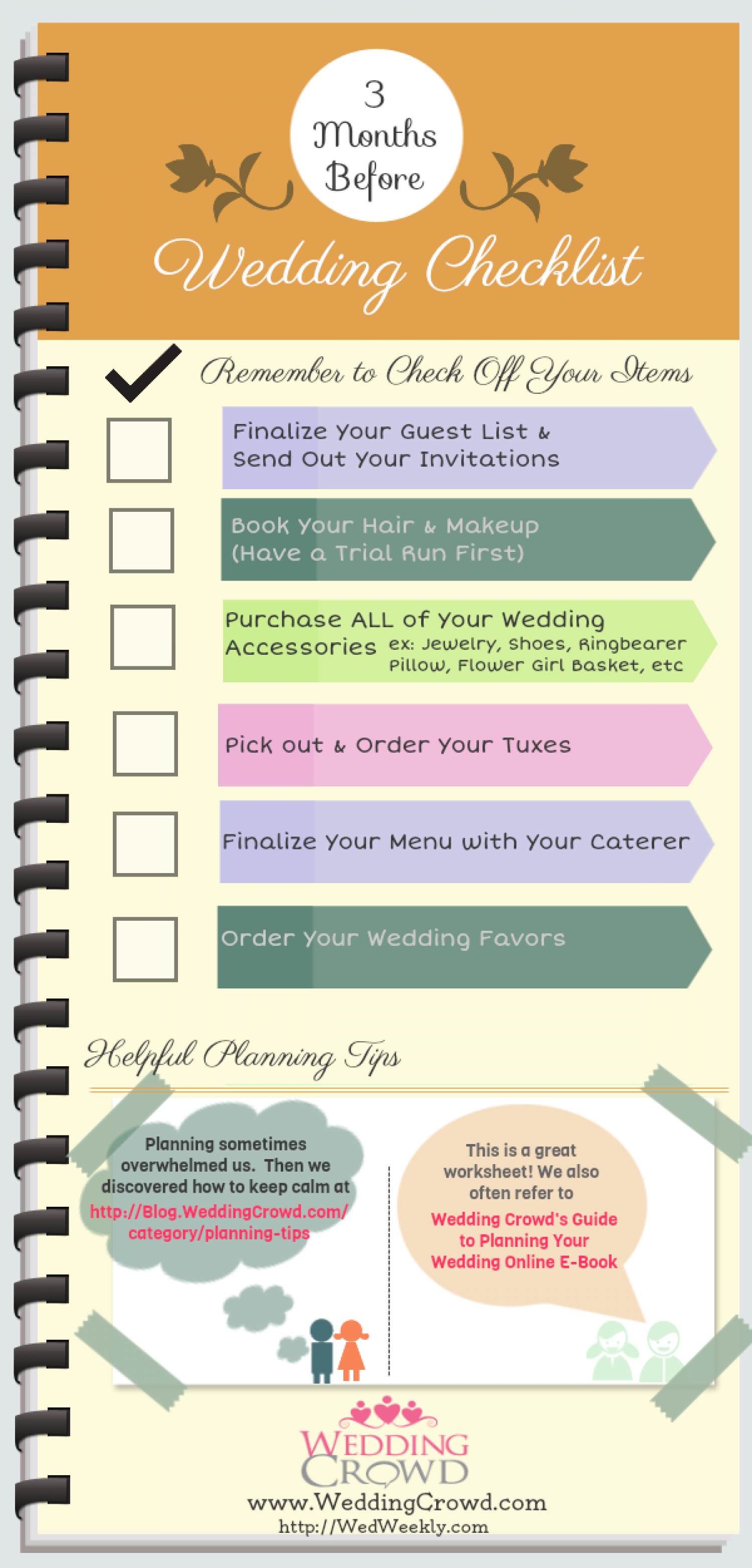3 Months Before Wedding Planning Checklist Infographic