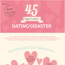 45 Ways To Avoid A Dating Disaster Infographic