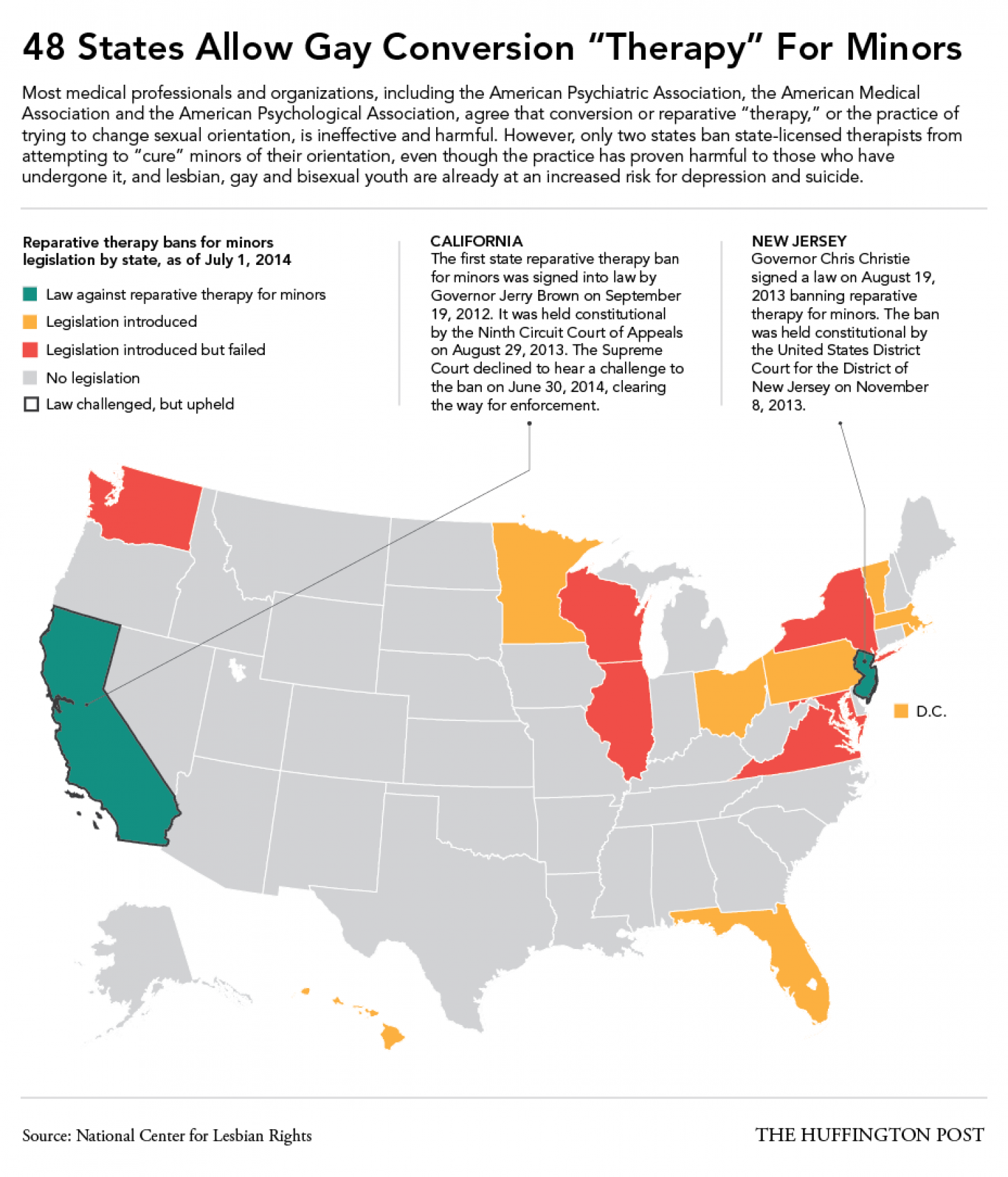 """48 States Allow Gay Conversion """"Therapy"""" For Minors Infographic"""