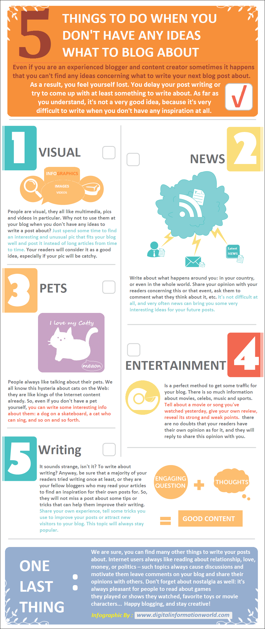 5 Interesting Things To Do When You Don't Have Any Ideas What To Blog About : infographic