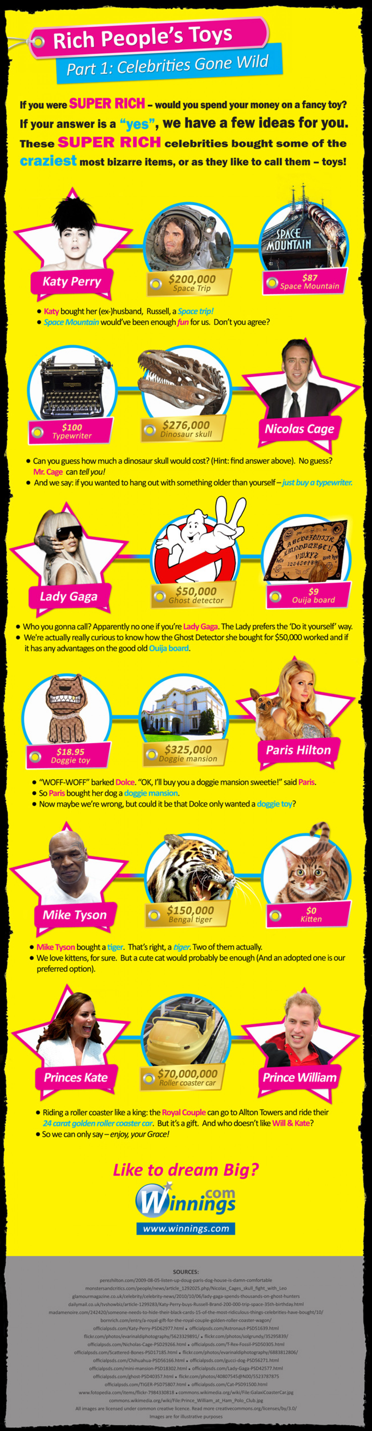 6 Crazy Rich Items Celebrities Bought Infographic