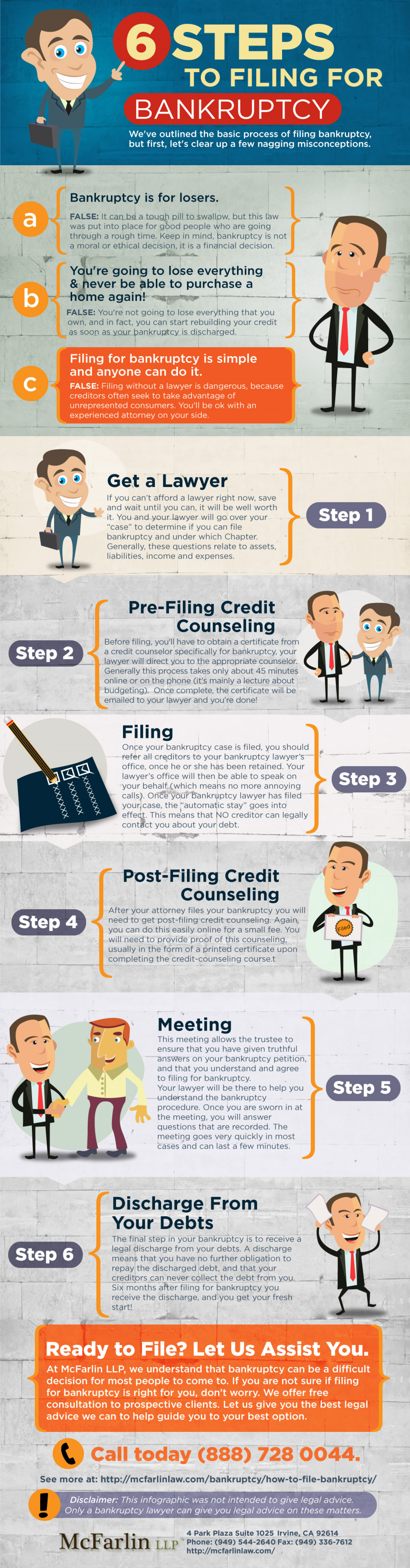 6 Easy Steps To Filing For Bankruptcy Infographic