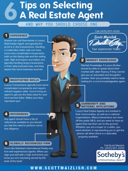 6 Tips on Selecting a Real Estate Agent Infographic