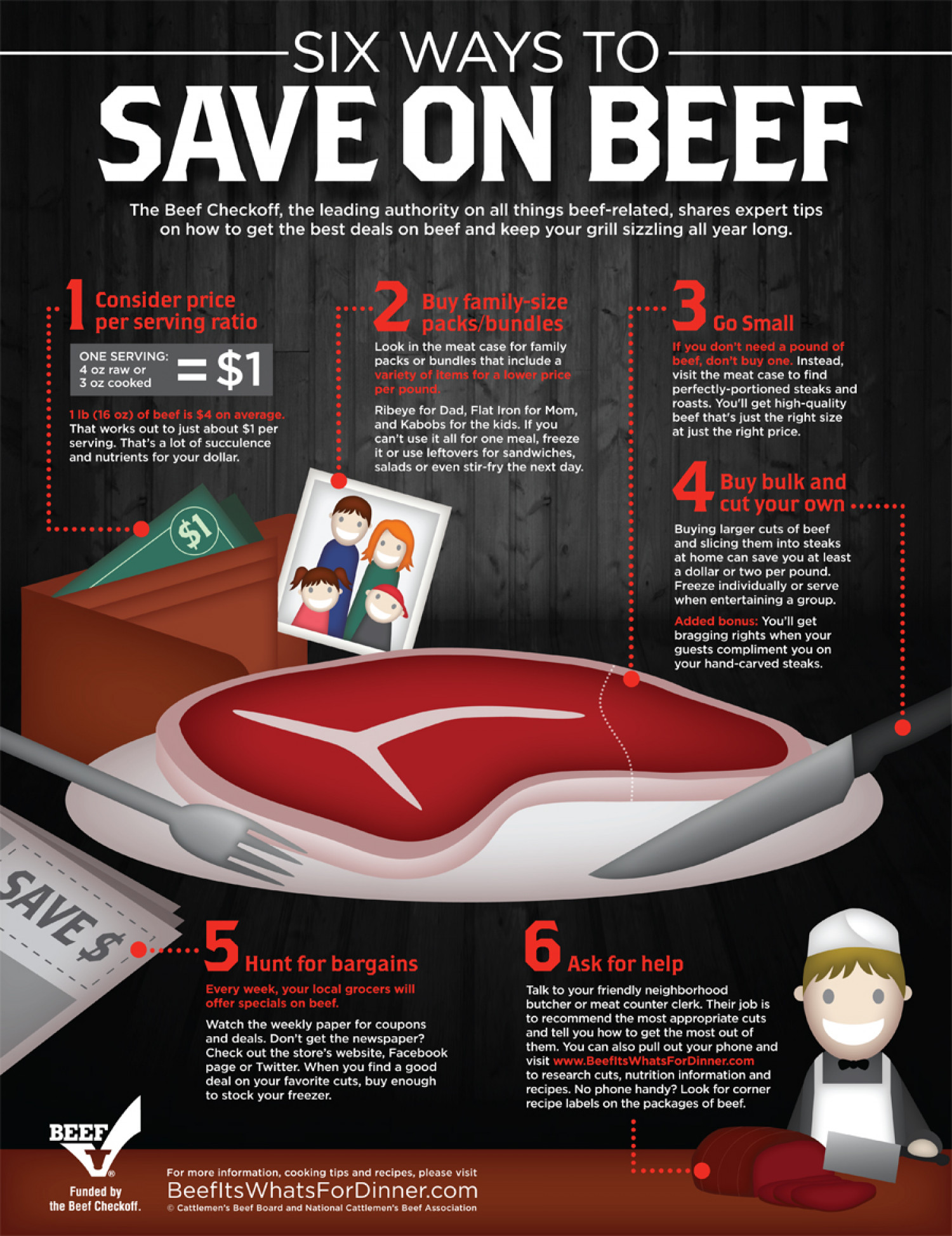6 Ways to Save on Beef Infographic