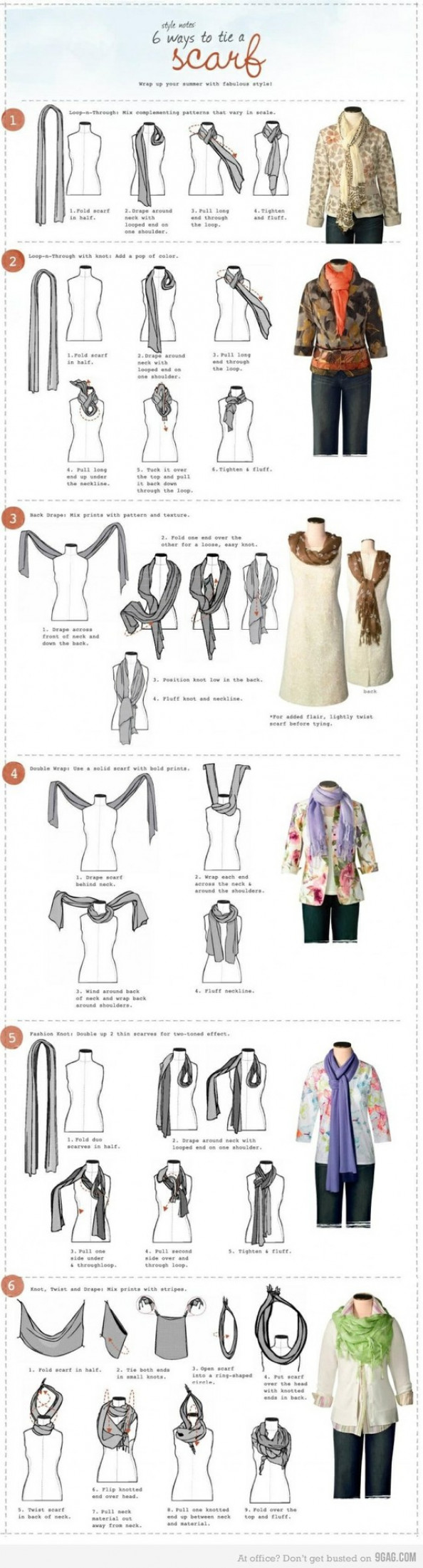 6 Ways to Tie a Scarf Infographic