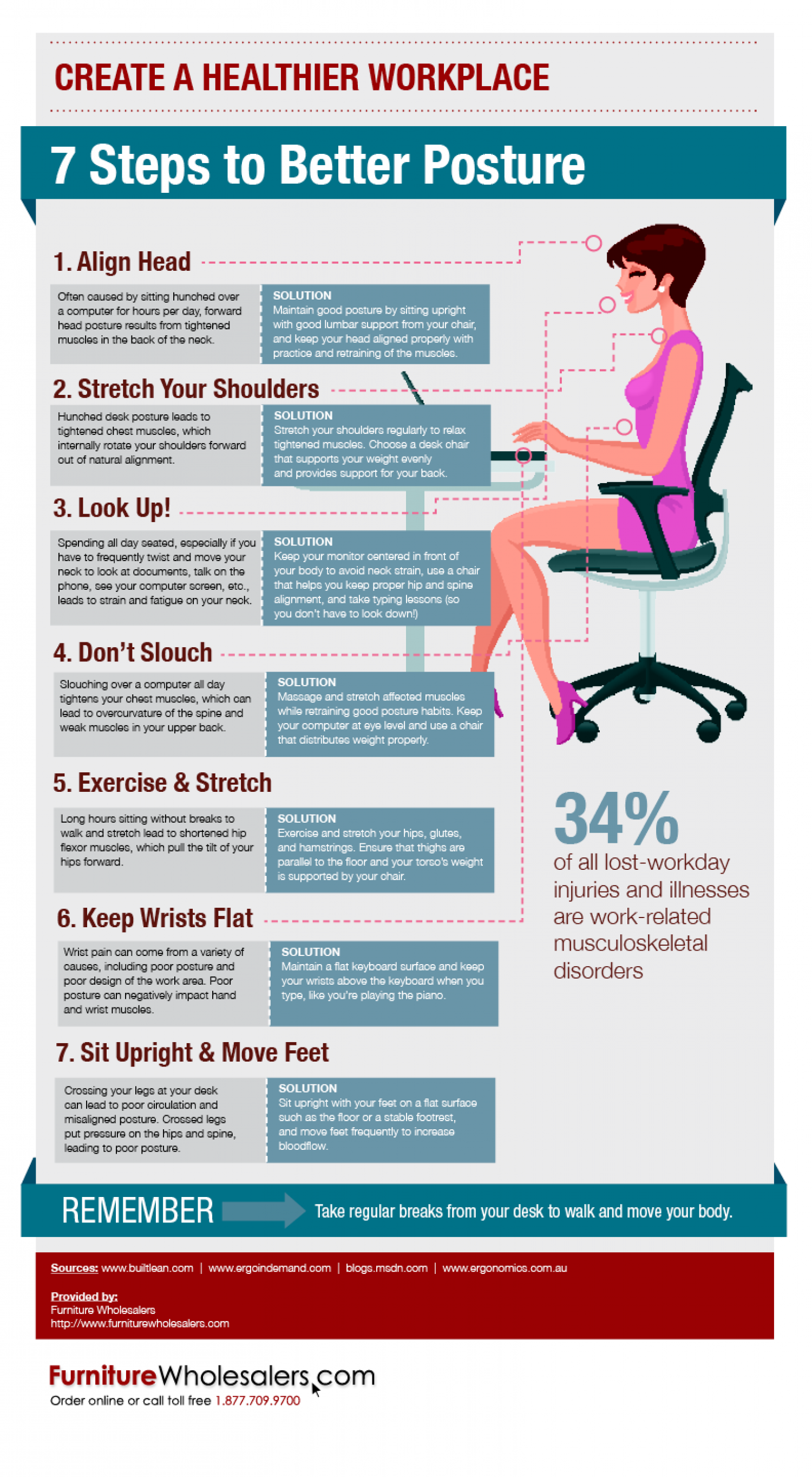 7 Steps to Better Posture Infographic