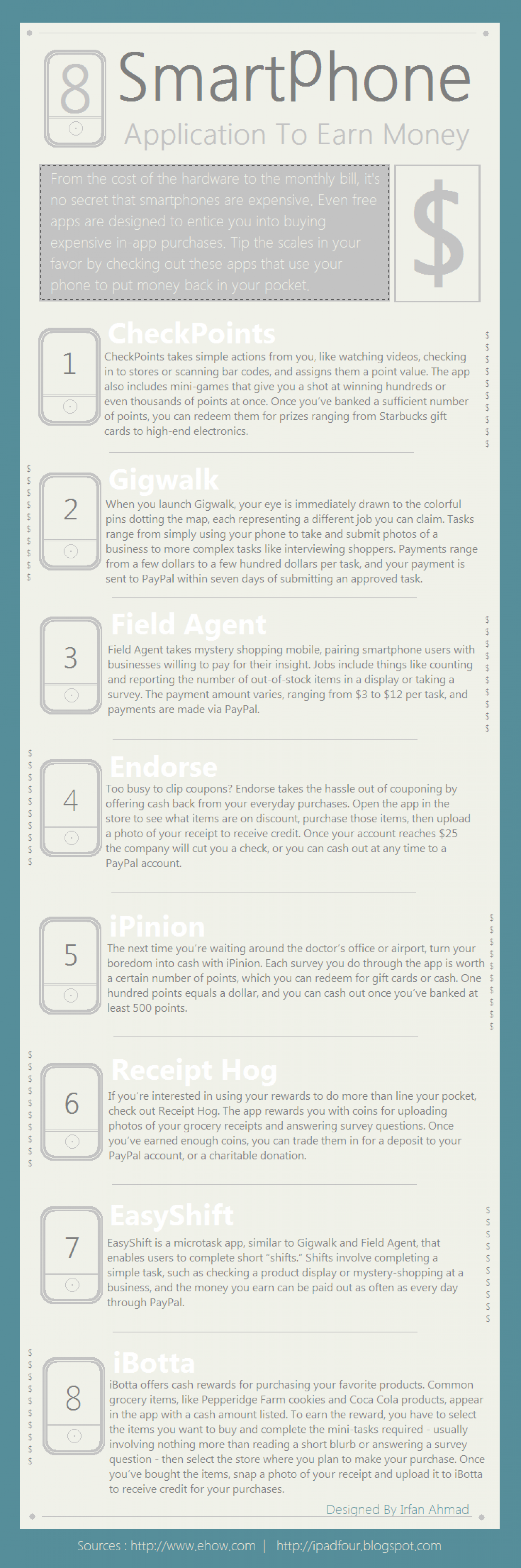 8 Best Applications To Make Money With Smartphones Infographic
