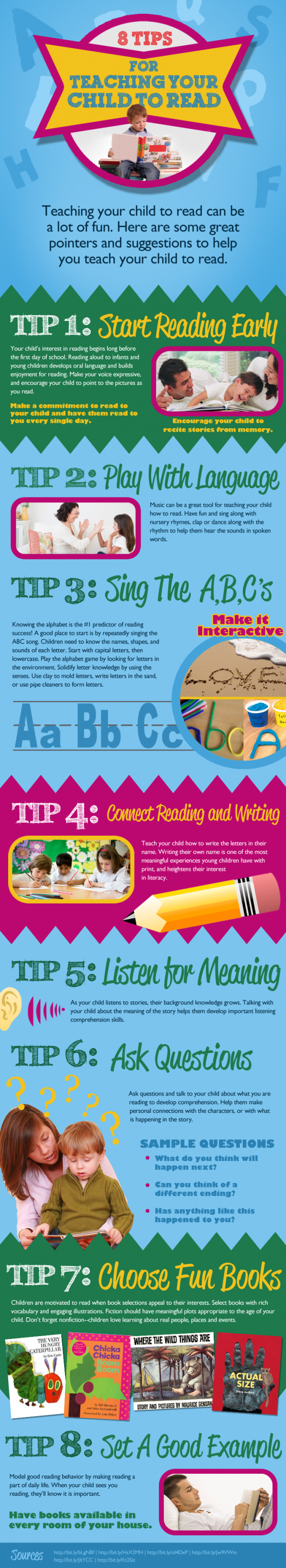 8 Tips for Teaching your Child  to Read Infographic