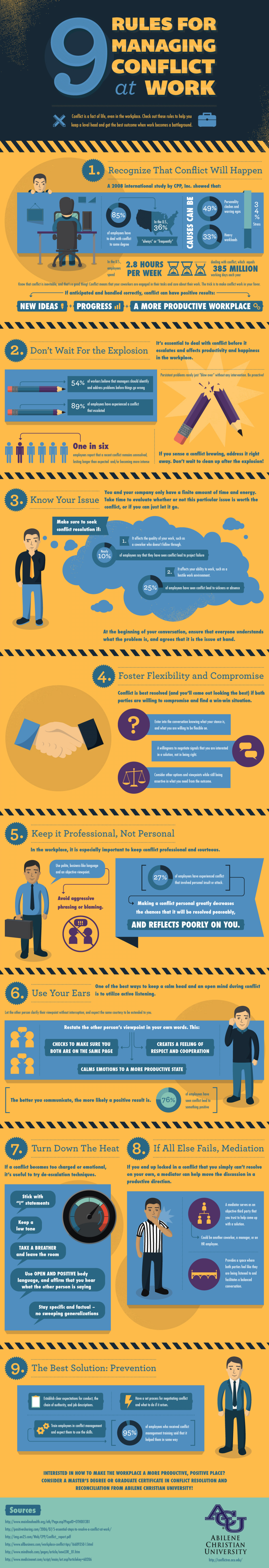 9 Rules for Managing Conflict at Work Infographic