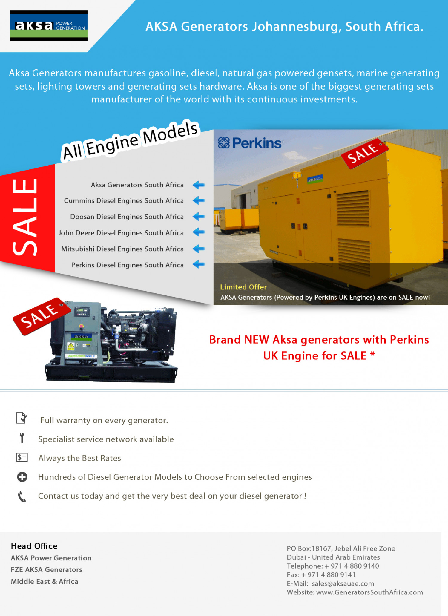 Aksa Power Generators South Africa Infographic
