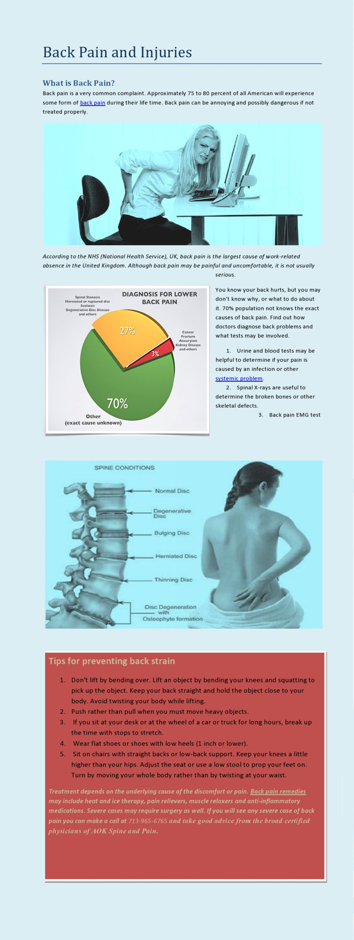 Back Pain and Injuries  Infographic
