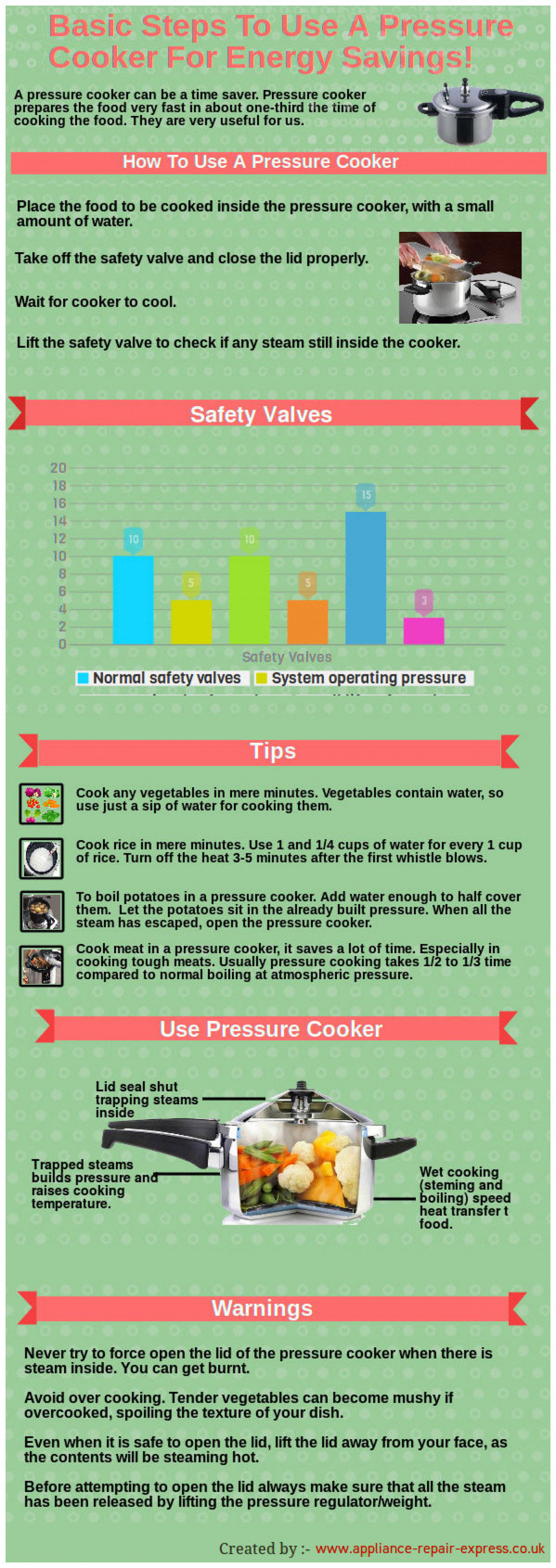 Basic Steps To Use A Pressure Cooker for Energy Savings Infographic