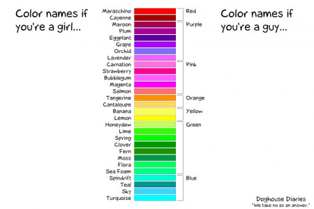 Color names according to the sexes Infographic