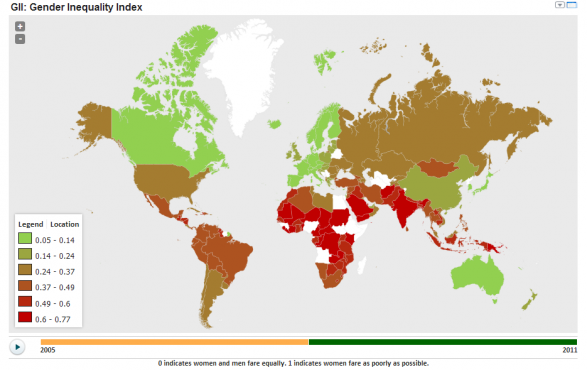 Gender Inequality Index around the world
