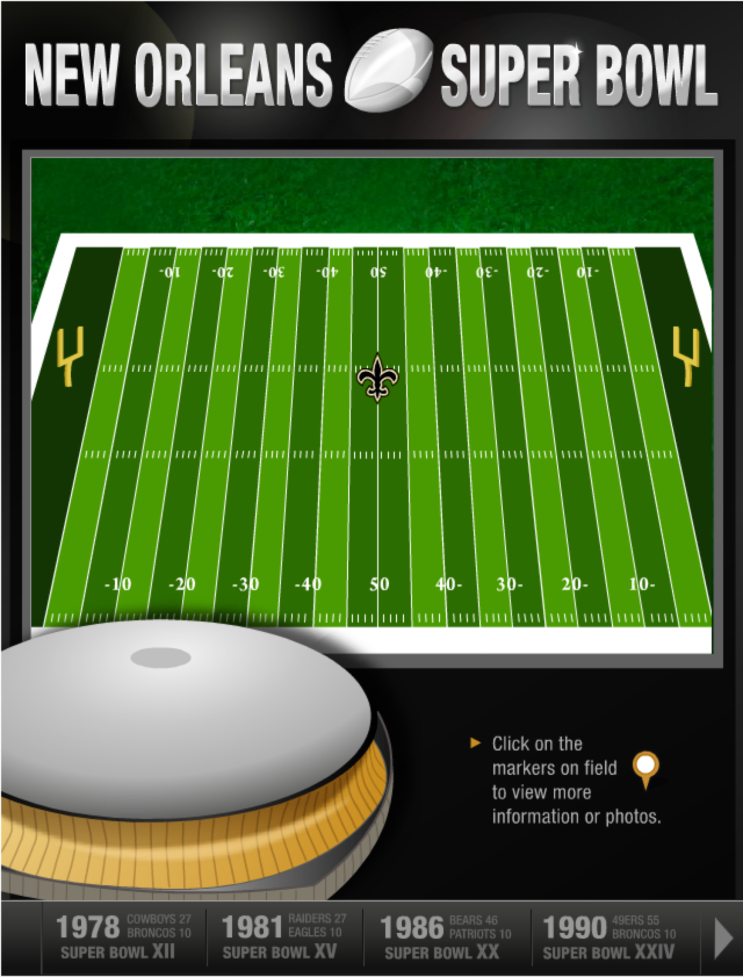 New Orleans Superdome's greatest Super Bowl moments Infographic