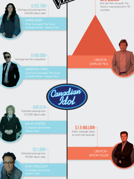 Reality TV Music Stars - Pop Star vs Producer Infographic