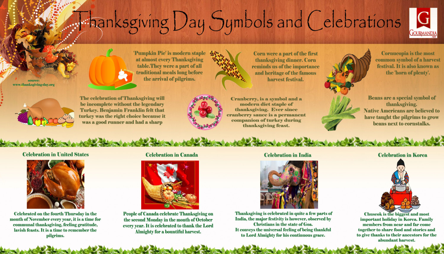 Thanksgiving Day Symbols and Celebrations Infographic