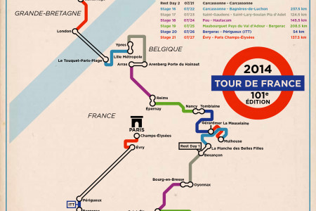 Tour de France Map 2014 Underground Style Infographic