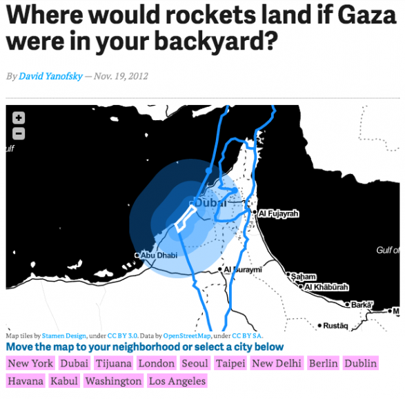 Where would rockets land if Gaza were in your backyard?