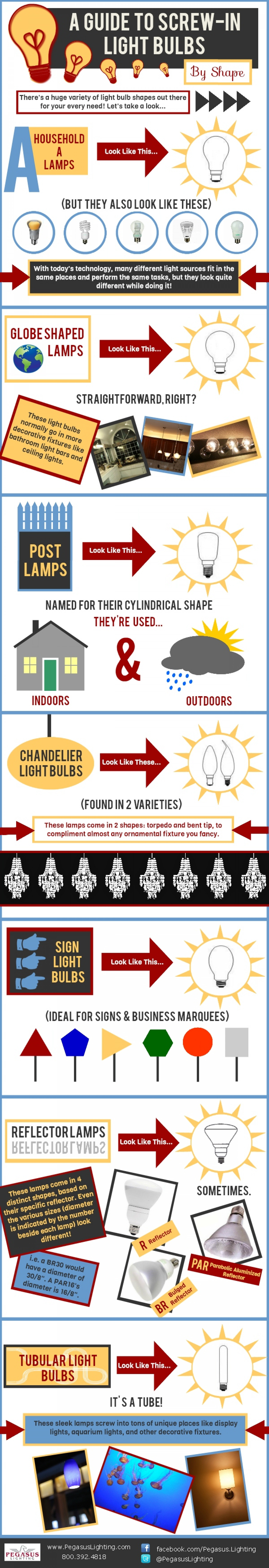 A Guide To Screw-In Light Bulbs By Shape Infographic