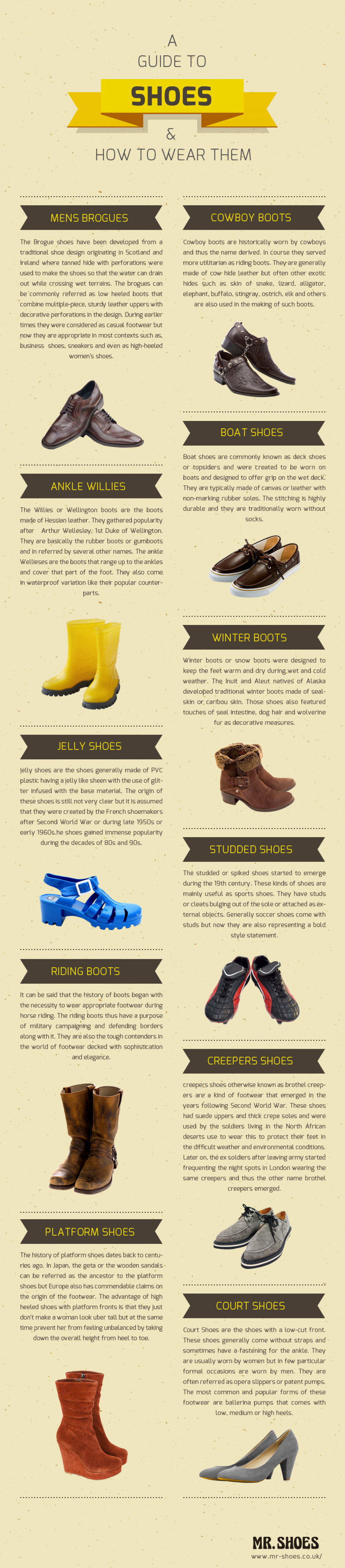 A guide to Shoes and How to wear them Infographic
