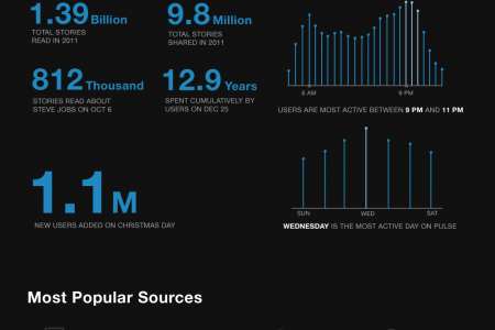 A Review of Pulse in 2011: 1M to 11M Users Infographic