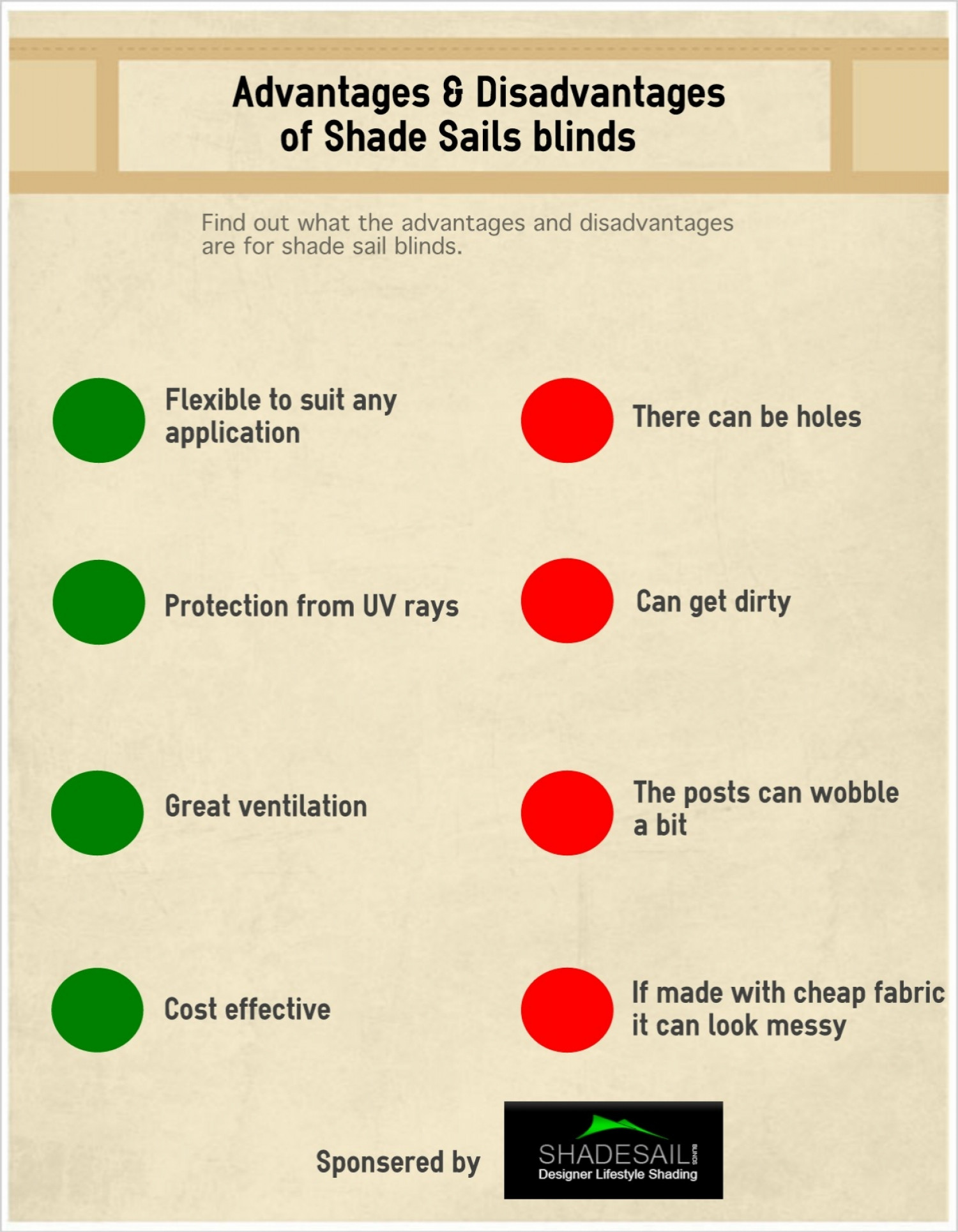 Advantages & Disadvantages of shade sails blinds Infographic