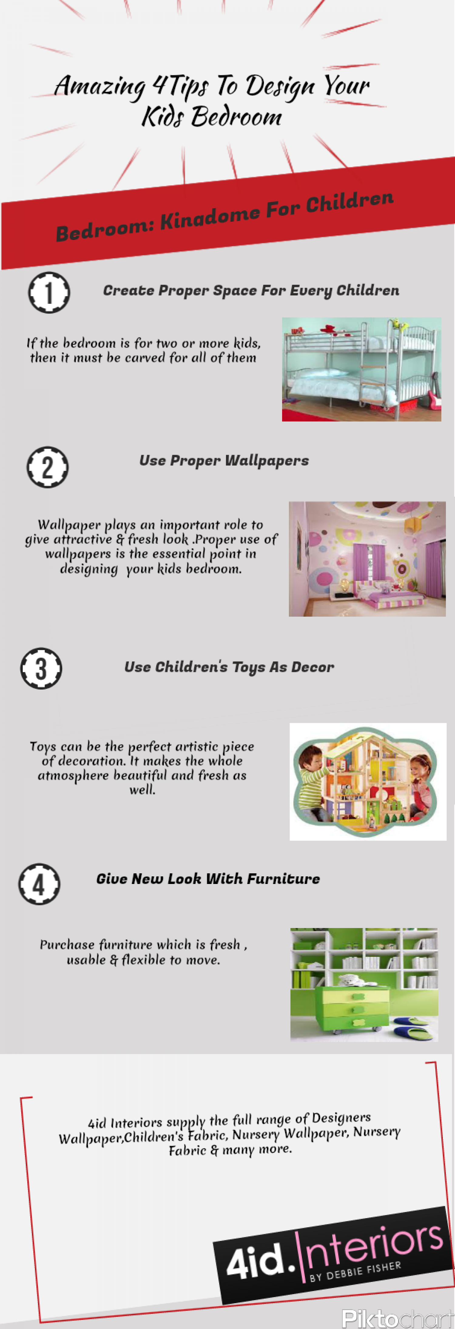 Amazing 4 Tips To Design Your Kids Bedroom Infographic
